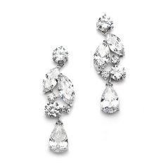 Cubic Zirconia Mosaic Wedding Earrings with Teardrop