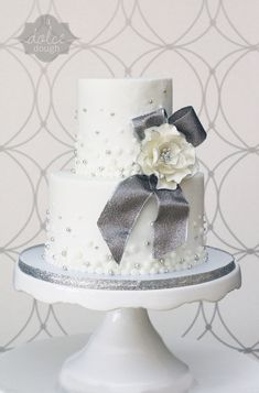 White And Silver Engagement Party Cake