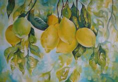 Lemon Painting - Golden Fruit by Elena Oleniuc Lemon Painting, Lemon Watercolor, Fruit Painting, Fruit Picture, Apple Art, Fruit Plants, Fruit Art, Floral Invitation, Painting Inspiration