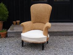 French Tall Spoon Back chair with Hessian Back and Calico seat. Choose your fabric either in store or bring your own and we upholster in our workshop.   Height: 103cm   Width: 79cm   Depth in seat: 51cm