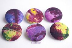 button x6 large button 1 1/8 Inch ink paint by CocoFlowerButtons