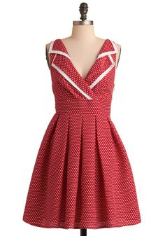 50s-inspired retro red polka dot dress with gorgeous collar - Esme and the Laneway Dress, #ModCloth