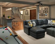 Not a dream basement but I would take it...in a different color and a fabric covered sectional.