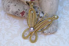 Gold Butterfly Necklace, Pearl Beaded Butterfly Pendant, Insect Pendant, Wire Wrapped Butterfly Pendant, Bridal Jewelry by FairyJewelryBox on Etsy