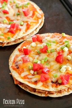 Mexican Pizza - flour tortillas with refried beans, rotisserie chicken & salsa. A little enchilada sauce and cheese and you have Mexican Pizza for dinner!