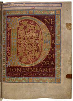 "Illum. ""D""    Ornamental initial from the Folchart-Psalter, 875. Abbey library of Saint Gall ©Stiftsbibliothek   (Source: stibi.ch)"