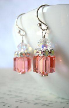 Rose Peach Swarovski Crystal Earrings: