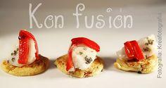 Kon fusión - Cocina: Mini blinis de tomate seco y bacalao confitao