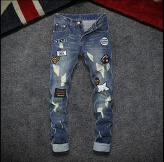 28-36!!!  2017   Hole in the fall of man jeans Japanese hole of small patches of pants straight long denim trousers