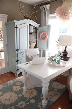 white farm table desk and armoire space