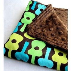 Ready to Ship Baby Boy Security Blanket Groovy Guitars with Brown Minky Dot