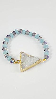 White Druzy Bracelet - Drusy Amazonite bracelet - Crystal bracelet - Blue and Green bracelet - Stretch elastic bracelet- Boho Chic bracelet