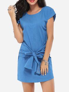 Bowknot Round Neck Dacron Plain Shift-dress Only $19.95 USD More info...