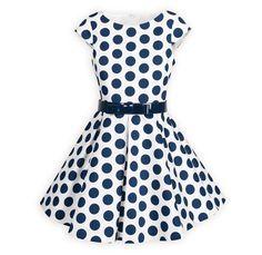 Navy Dot Girls' Swing Dress