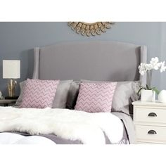 Shop for Safavieh Austin Light Grey Cotton Blend Upholstered Wingback Headboard (Full). Get free delivery at Overstock.com - Your Online Furniture Shop! Get 5% in rewards with Club O!