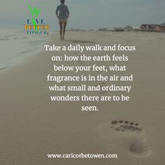 Take a daily walk and focus on: how the earth feels below your feet, what fragrance is in the air and what small and ordinary wonders there are to be seen. Long Take, Take That, Daily Walk, Natural Health, Feels, Fragrance, Earth, Humor, Humour