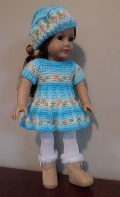 """American Girl Doll Clothes - Dress and hat hand knitted with Bernat Baby Jacquards """"Orange Blossom"""". Also fits Gotz, Madame Alexander & similar 18"""" dolls. AVAILABLE."""