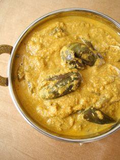 a classic Andhra vegetarian eggplant recipe - eggplants in sesame seeds sauce