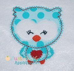 Heart Owl Applique Design - 1016