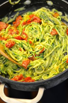 Healthy Pasta Recipe: Zoodles with Avocado & Roasted Tomatoes.