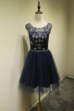 New Arrival Backless Homecoming dress,Dark Navy Tulle Knee Length Party Dresses,a line homecoming dress,short graduation dress,charming beaded homecoming dress