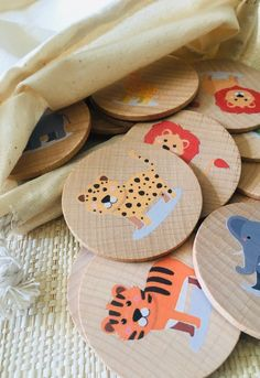 Wooden Memory Game Animal, Montessori and Waldorf Inspired Matching and Memory Game, Educational Toys, Montessori Toy, HomeSchool - Kids&Baby Toys Wooden Baby Toys, Wood Toys, Wooden Toys For Kids, Kids Wood, Diy Montessori Toys, Montessori Toddler, Tinker Toys, Diy Sensory Board, Memory Games