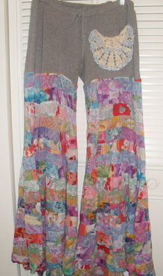 pants yoga hooping grey floral lace hippie by loveflowcreations, $46.00