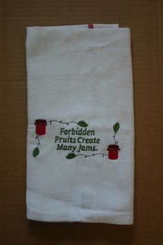 Embroidered Kitchen Towel Forbidden Fruits by LJsCustomCreations, $10.50