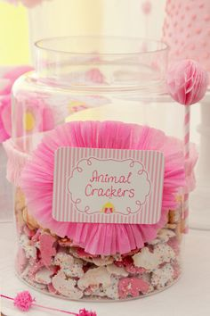 jar decor..  could be tweaked for a jungle or safari theme, too..  use unfrosted animal crackers for a boy!!