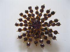 Coro Purple Rhinestone Flower Brooch by GotMilkGlassAndMore, $19.95