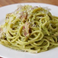Avocado Carbonara I'm adding airloom cherry tomatoes. And to make it one less Pam I'm buying pre cooked microwave bacon..