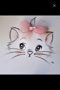 Micio Disney Kunst, Art Disney, Disney Ideas, Disney Tattoos, Tumblr Drawings, Cat Art, Drawing Sketches, Painting & Drawing, T Shirt Painting