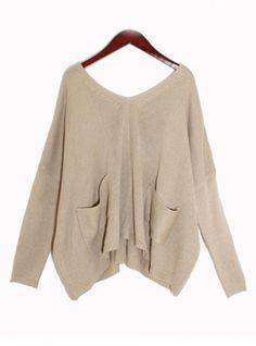 Beige Bat Long Sleeve Sweater$40.00