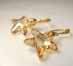 Golden shadow Starfish Swarovski crystal earrings by DesignByKara