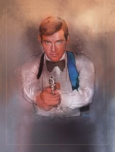 Sir Roger Moore in Live And Let Die Art by Jeffrey Marshall