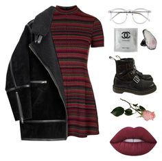 """""""Untitled #54"""" by filganekdane ❤ liked on Polyvore featuring Topshop, H&M, Wildfox, Chanel, Dr. Martens and Lime Crime"""