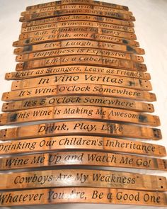 Get the good times rolling in your bar or wine cellar! Our Barrel Stave Cellar Sign is handcrafted from a Napa Valley wine barrel stave. Each oak sign curves slightly away from the wall and retains authentic markings from the barrel bands and wine. Wine Barrel Crafts, Wine Barrel Furniture, Barrel Projects, Barrel Rings, Wine Craft, Wine Decor, Wine Design, Design Design, Bourbon Barrel