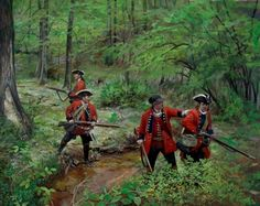 Historic art pertaining to the Century, French and Indian war, Revolutionary War, Eastern Woodland Indian, created by Pamela Patrick White and Bryant White American Revolutionary War, American War, American History, Canadian History, Military Art, Military History, Military Uniforms, Military Diorama, British America