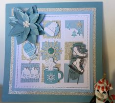 Winter Sampler in Blues and Silver by - Cards and Paper Crafts at Splitcoaststampers Christmas Shadow Boxes, Christmas Collage, Christmas Crafts, Xmas, Box Frame Art, Shadow Box Frames, Diy Frame, Collage Frames, Collages