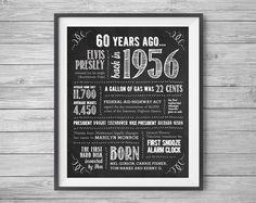 60th Birthday Printable 8x10 Party Sign, 60 Years Ago in 1956, Instant Digital…