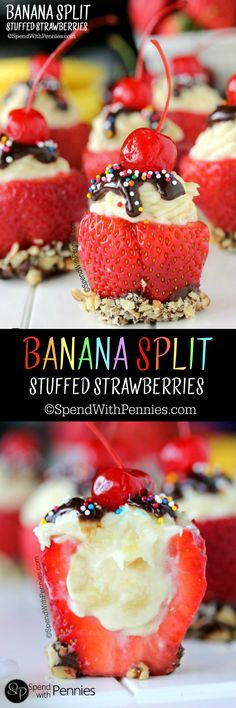 These yummy no bake treats are perfect for su… Banana Split Stuffed Strawberries! These yummy no bake treats are perfect for summer! Strawberry Recipes, Fruit Recipes, Dessert Recipes, Cooking Recipes, Strawberry Cheesecake Bites, Cheesecake Strawberries, Cheesecake Bars, Pumpkin Cheesecake, No Bake Treats