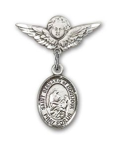 Barbara Charm and Angel with Wings Badge Pin Jewels Obsession Baby Badge with St Barbara Charm and Angel with Wings Badge Pin 14K Gold Baby Badge with St Made In USA