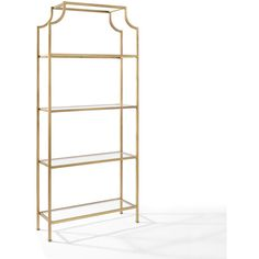 Crosley Furniture Aimee Gold Glass Etagere ($399) ❤ liked on Polyvore featuring home, furniture, storage & shelves, display units, gold furniture, glass bookshelf, glass bookshelves, glass book shelf and glass furniture