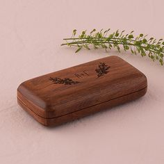 Natural Charm Personalized Pocket Size Wooden Wedding Ring Box - Garland Surrounding - The Knot Shop