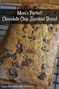 Mom's Perfect Chocolate Chip Zucchini Bread uses fresh zucchini to make a delicious quick bread treat. With a lovely cinnamon flavor, this chocolate chip zucchini bread will become a favorite for all. #zucchinibread #quickbread #zucchini
