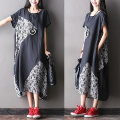 Women summer black short sleeve casual printing stitching loose cotton linen dress