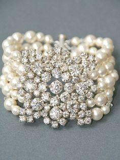 Bridal Bracelet Vintage Style Rhinestone and Pearl Statement Bracelet Wedding Jewelry Pearl Crystal Cuff Bracelet Wedding Accessories Bridal Bracelet, Bridal Jewelry, Pearl Wedding Jewelry, Pearl Jewelry, Jewelry Bracelets, Jewlery, Pearl Bracelets, Diamond Bracelets, Pearl Rings