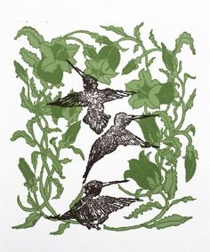 Hummingbirds   Hummingbirds Two color linoprint by artist Milton Davis.  http://www.finelifeart.com/hummingbirds-2/