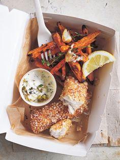 Quinoa-Crusted Fish With Sweet Potato Chips and Yogurt Tartar Sauce.