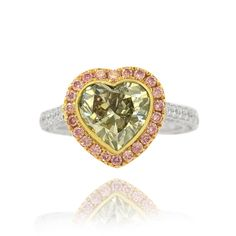 4.68 Carat, Greyish Yellowish Green Heart Diamond Ring with Pink Pave Diamonds, Heart, SI2